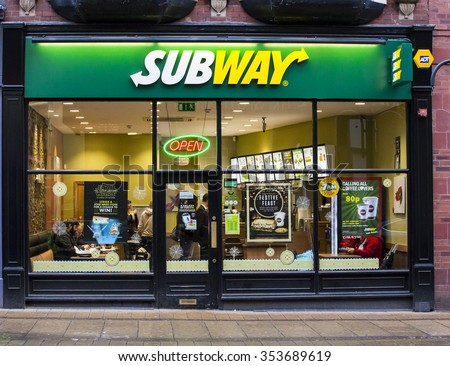 LEEDS, UK - 19 DECEMBER 2015.  Subway Restaurant in Leeds, UK.  - stock photo
