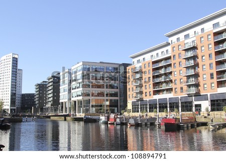 LEEDS, UK - JULY 24: View of the apartments and offices of Clarence Dock, on the July 24, 2012 in Leeds.  A new master plan aiming to put the 'spirit and soul' into Clarence Dock is unveiled 26 July.
