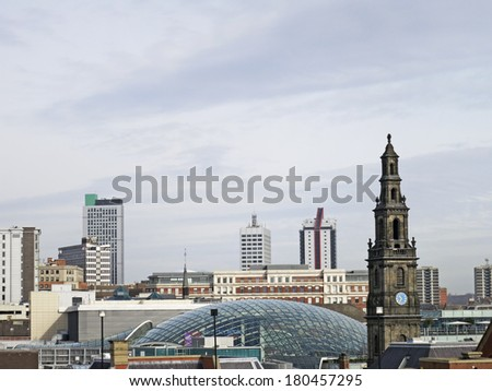 LEEDS, UK - MARCH 5: Roof of the Trinity Shopping Centre becomes part of Leed skyline, Leeds, 05 March 2014. New centre celebrates unrivalled footfall since doors opened on 21st March, 2013. - stock photo