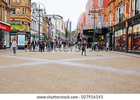 LEEDS, UK - OCTOBER 30, 2016: Shoppers on the main pedestrianised shopping street in Leeds. Leeds is considered the cultural, financial and commercial heart of the West Yorkshire Urban Area