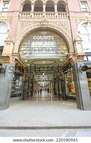 LEEDS, UK - SEPTEMBER 21, 2014: County Arcade. The Leeds City Region is the UK's largest economy and population centre outside London, generating 4% of national economic output