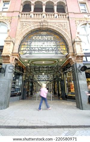 LEEDS, UK - SEPTEMBER 21, 2014: County Arcade. The Leeds City Region is the UK's largest economy and population centre outside London, generating 4% of national economic output - stock photo