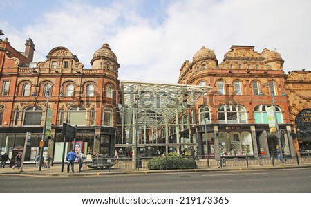LEEDS, UK - SEPTEMBER 21, 2014: Victoria Quarter. The Leeds City Region is the UKâ??s largest economy and population centre outside London, generating 4% of national economic output - stock photo