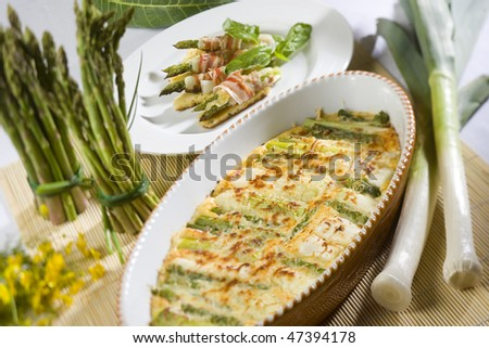 Leek au gratin - stock photo