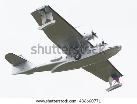 LEEUWARDEN, NETHERLANDS - JUNE 11: Consolidated PBY Catalina in Dutch Navy colors flying at the Royal Netherlands Air Force Days June 11, 2016 in Leeuwarden, Netherlands. - stock photo
