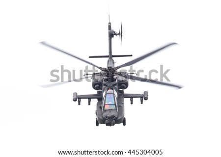 LEEUWARDEN, THE NETHERLANDS - JUN 11, 2016: Boeing AH-64 Apache attack helicopter flying a demo during the Royal Netherlands Air Force Days - stock photo