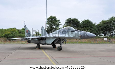 Leeuwarden the Netherlands - June 11 2016: A slovakian MIG29 Fulcrum is displayed at the static show during the Open Days at air force base Leeuwarden - stock photo