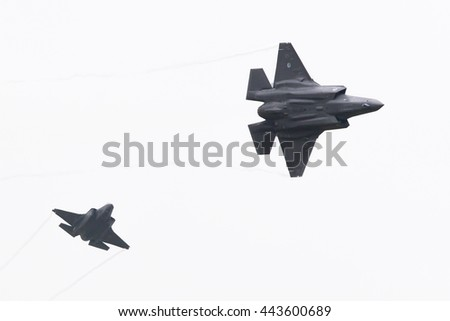 LEEUWARDEN, THE NETHERLANDS - JUNE 11, 2016: F-35 Lightning II flyby on it's European debut at the Royal Netherlands Air Force Days - stock photo