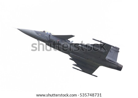 LEEUWARDEN, THE NETHERLANDS-JUNE 10: Modern tactical fighter jet JAS-39 Gripen performs at the Dutch Airshow on June 10, 2016 at Leeuwarden Airfield, The Netherlands.