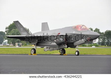 Leeuwarden, the Netherlands - June 11  2016: The Joint Strike Fighter F-35 Lightning II is presented to the dutch public as the successor of the F-16 at the Open Days at air force base Leeuwarden