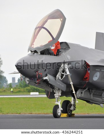 Leeuwarden, the Netherlands - June 11  2016: The Joint Strike Fighter F-35 Lightning II is presented to the dutch public as the successor of the F-16 at the Open Days at air force base Leeuwarden - stock photo
