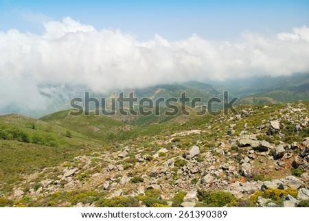 Lefka Ori mountain range on the island of Crete, Greece - stock photo