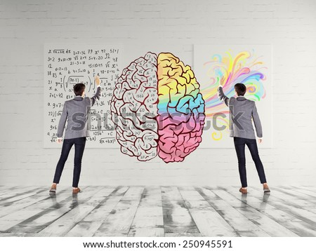 Left and right brain concept - stock photo