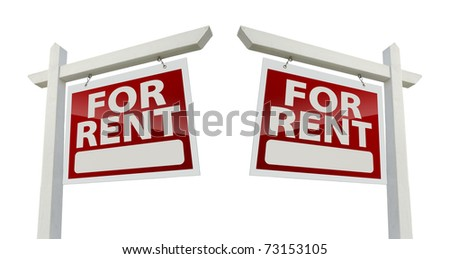 Left and Right Facing For Rent Real Estate Signs Isolated on a White Background with Clipping Path. - stock photo