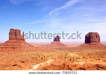 Left and Right Mitten and Merrick Butte, Monument Valley, Arizona-Utah, USA - stock photo