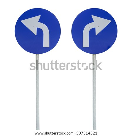Left and right white and blue arrow on rod isolated
