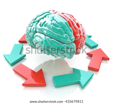 Left Brain, Right Brain. Concept. Human brain hemispheres in the design of information related to the work of the brain.3D Illustration - stock photo