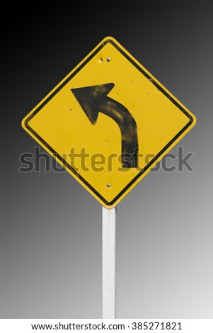 Left direction traffic signs on the white background - stock photo