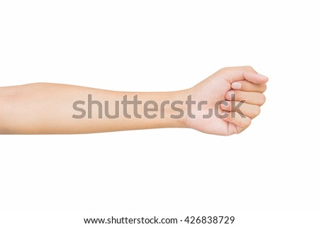 left front hand a man show the zero number, hammer, raise number, count number on hand, left hand Pretending to punch, isolated over white background - stock photo