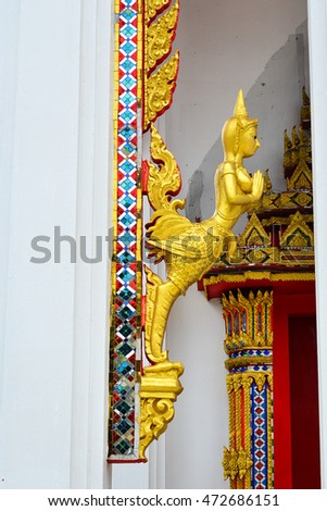 Left Half-Bird Half-Women Statue, Thailand Architecture