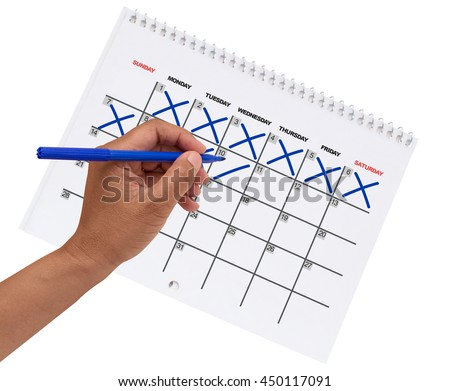 Left Hand Cross Out Dates  (One to Ten) on Generic Calendar isolated on white background