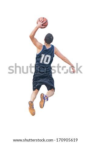 left hand dunk isolated on white background - stock photo