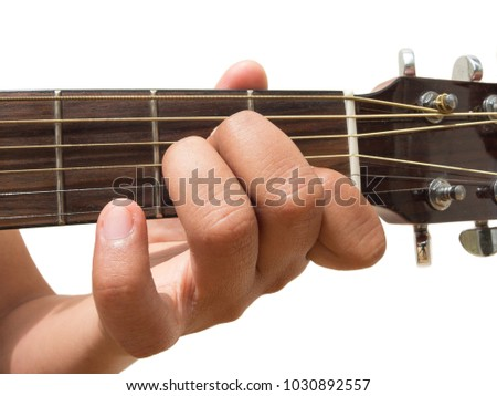 Left Hand Gesture Chord AM Guitar Stock Photo (Royalty Free ...