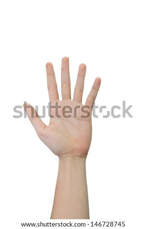 Left hand in isolated background