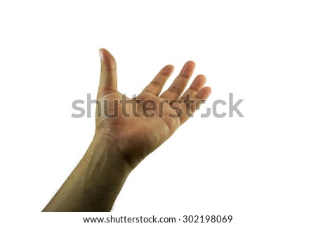 left hand on white background