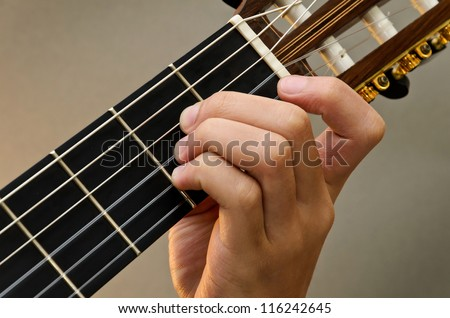 Left Hand Position Basic Chord of Classic Guitar / A Chord - stock photo