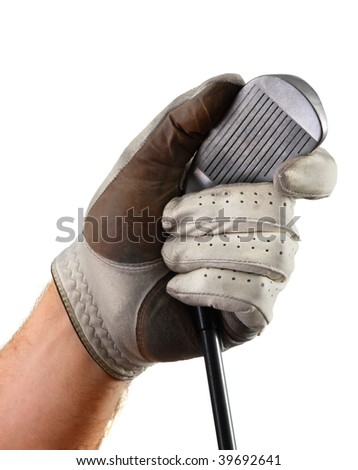 Left hand wearing a well-worn golf glove holds club by the head, showing club-face and grooves, isolated on a white background. - stock photo