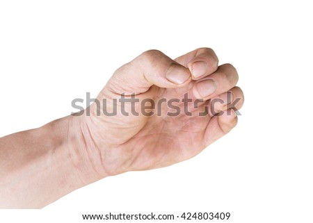 left hand with dirty fingers  nails isolate on white background with clipping path