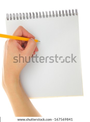 Left-hander with pencil writing gesture  - stock photo