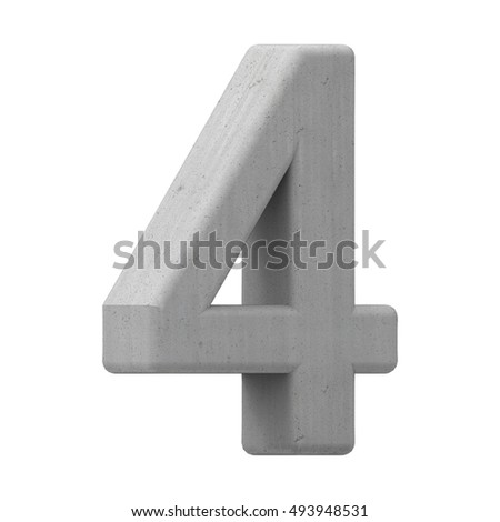 left leaning 3d gray concrete number 4, 3D rendering graphic isolated on white background