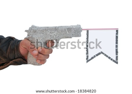left male hand with fire a shot newspaper pistol and flag isolated on white background. fake - stock photo