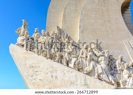 Left side of the Monument to the Discoveries in Lisbon, Portugal