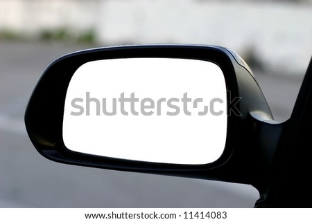 left side rear view mirror with clipping path - stock photo