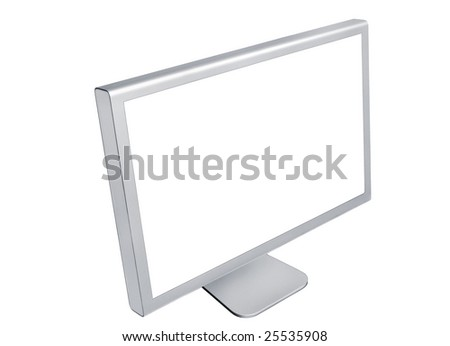 Left side view of computer monitor isolated on white background - stock photo