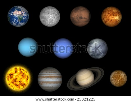 Left to right: earth, moon, mars, venus, uranus, neptune, pluto, sun, jupiter, saturn, mercury - stock photo