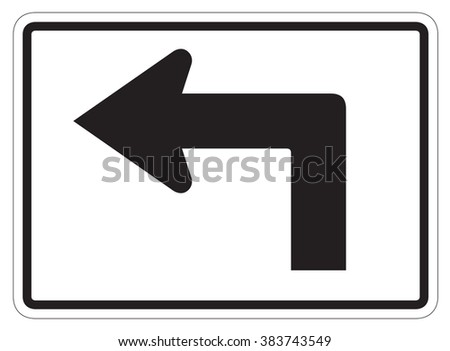 Left turn arrow auxiliary Sign isolated on a white background - stock photo