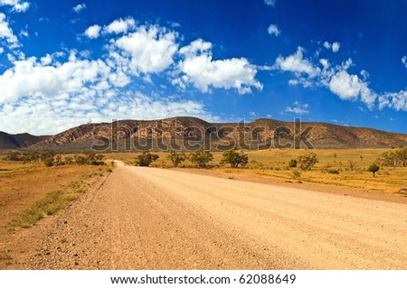 Left turn in the outback - stock photo