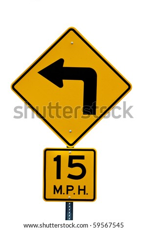 Left turn road sign with speed limit - stock photo