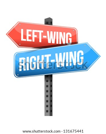 Left-wing and right-wing road sign illustration design over white - stock photo