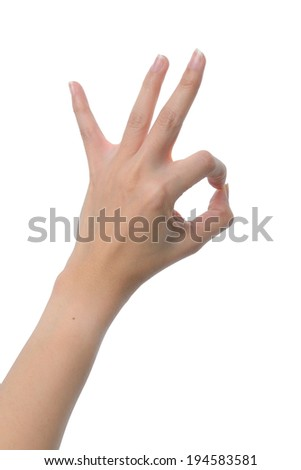 left woman hand OK sign isolated on white background