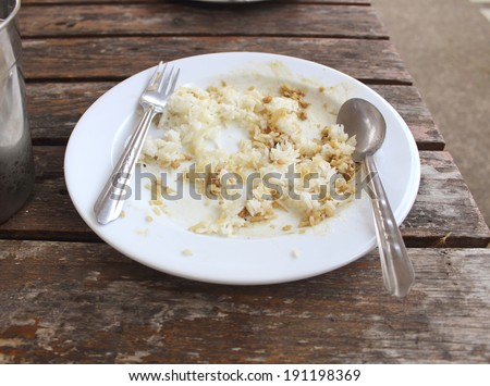 Leftover food on place after dinner - stock photo