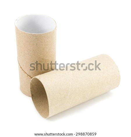 Leftover tissue paper roll on white isolate background. - stock photo