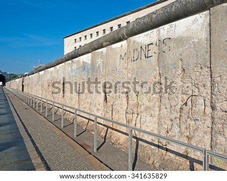 Leftovers of the wall in the center of Berlin - stock photo