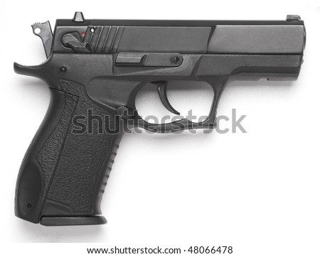 leftside handgun close up isolated on white background