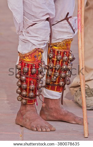 Leg bells ( known as Ghungroos ) worn by a street entertainer in Rajasthan, India - stock photo