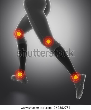 Leg most injured regoins in sport - ankle and knee - stock photo